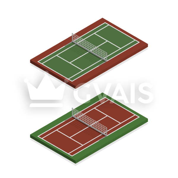 Isometric tennis court with tennis net. 3d Vector illustration.